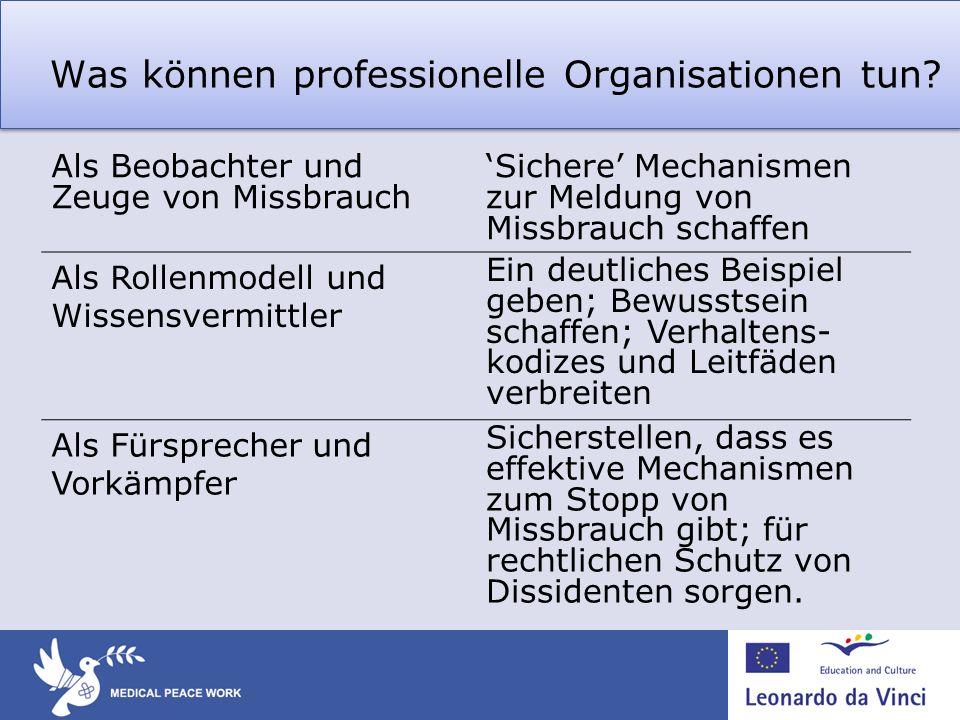 Was können professionelle Organisationen tun