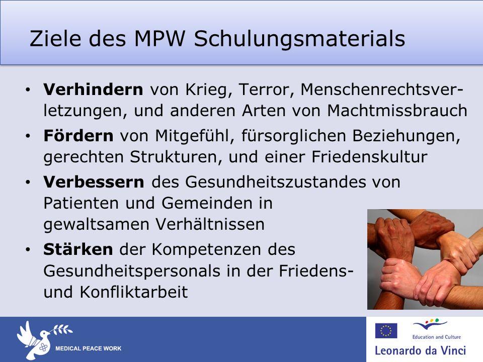 Ziele des MPW Schulungsmaterials