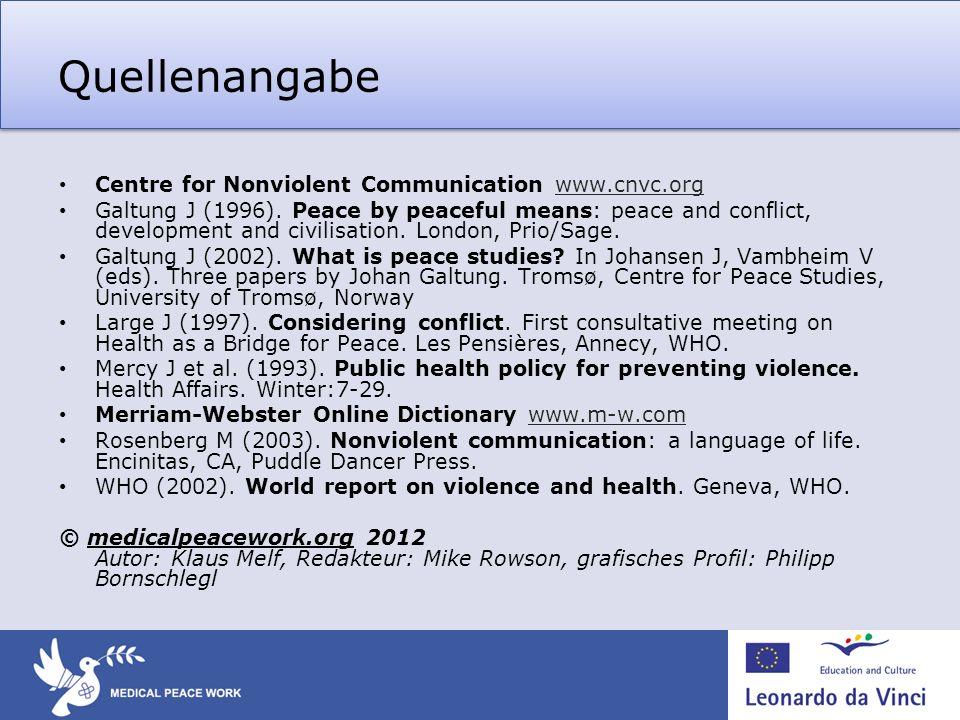 Quellenangabe Centre for Nonviolent Communication www.cnvc.org