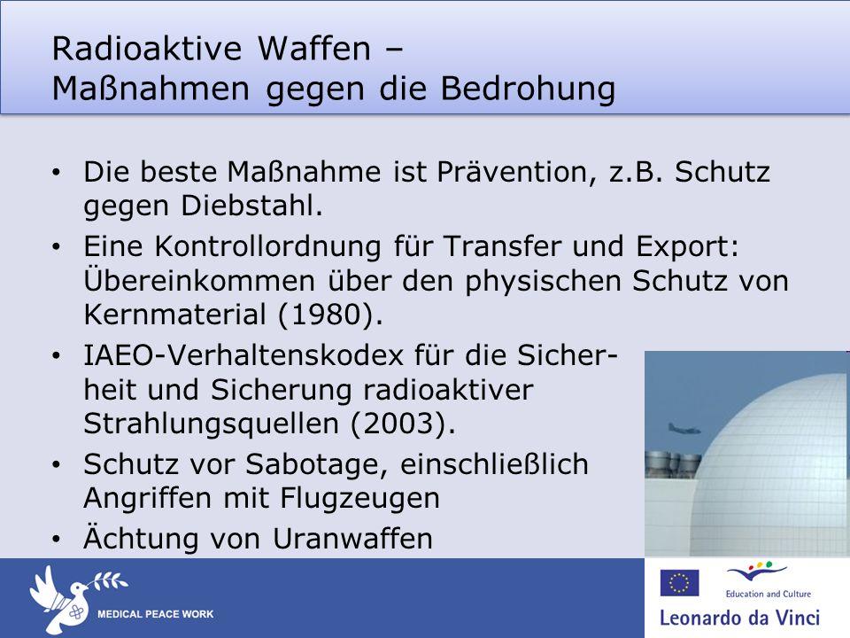 Radioaktive Waffen – Maßnahmen gegen die Bedrohung