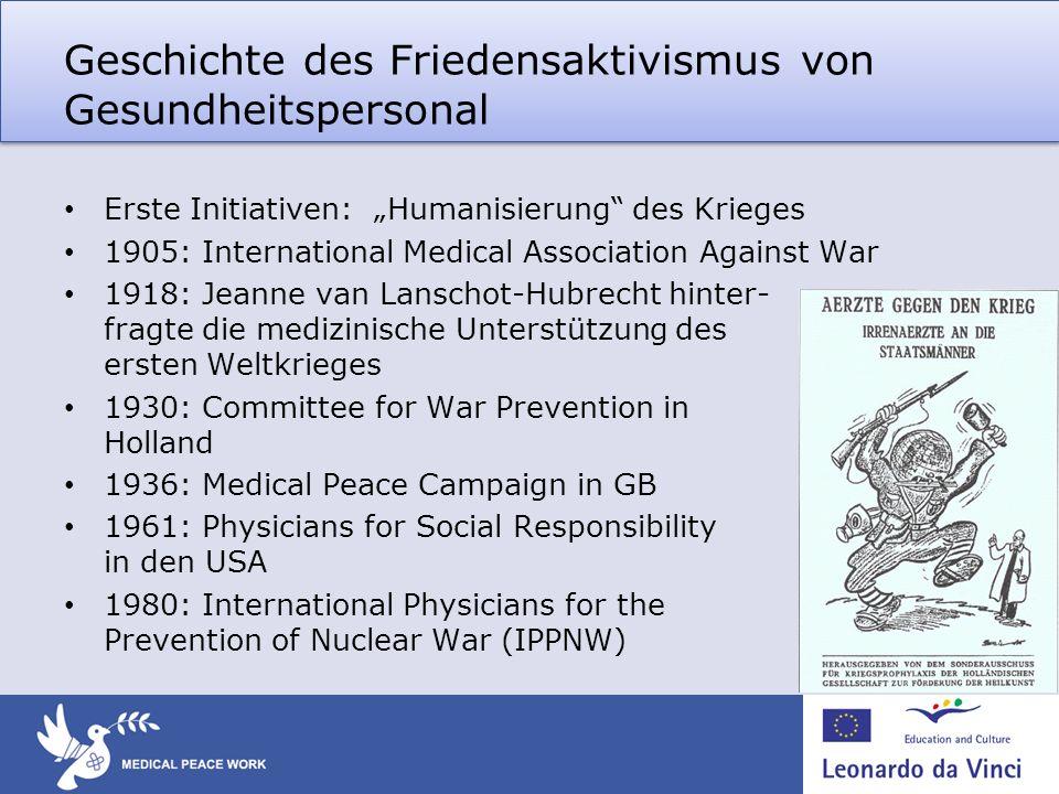 Geschichte des Friedensaktivismus von Gesundheitspersonal