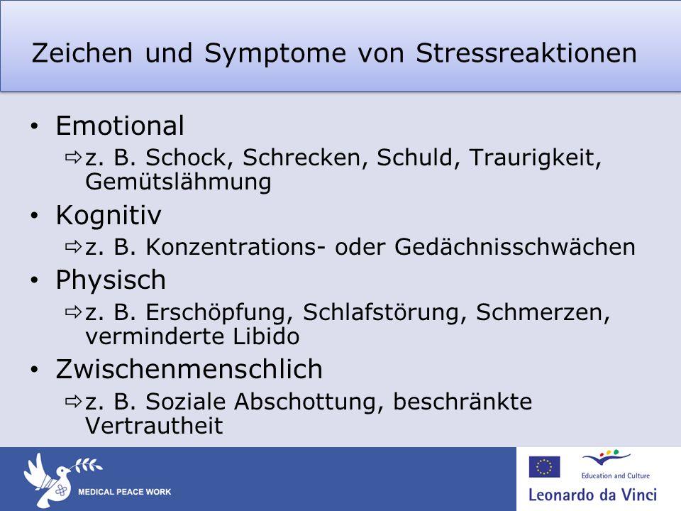 Zeichen und Symptome von Stressreaktionen