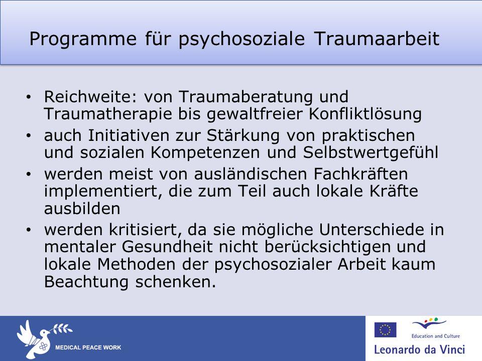 Programme für psychosoziale Traumaarbeit