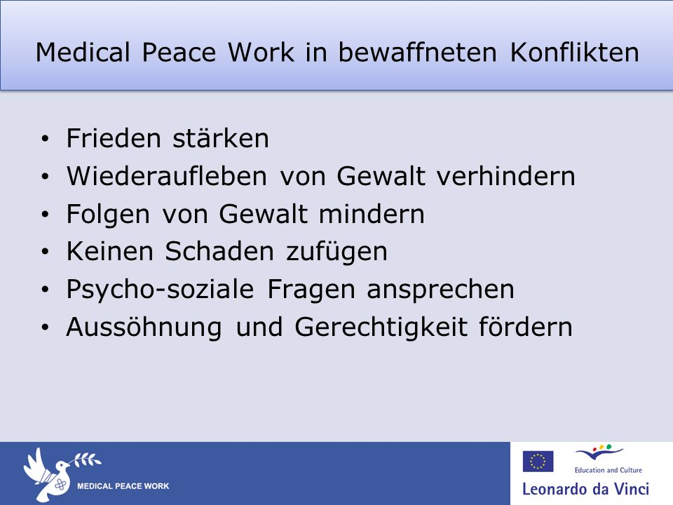 Medical Peace Work in bewaffneten Konflikten