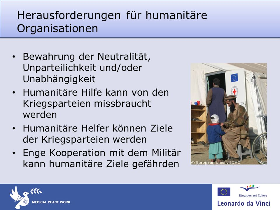 Herausforderungen für humanitäre Organisationen