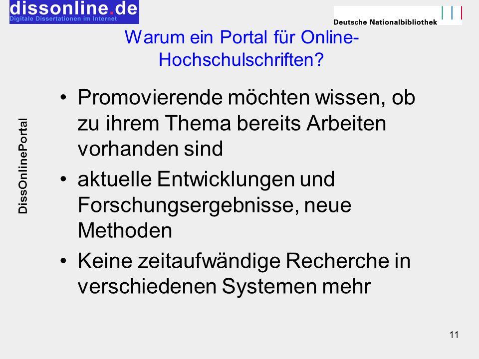 Warum ein Portal für Online-Hochschulschriften