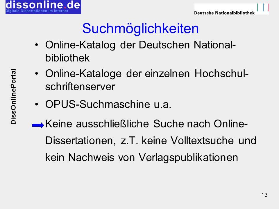 Suchmöglichkeiten Online-Katalog der Deutschen National-bibliothek