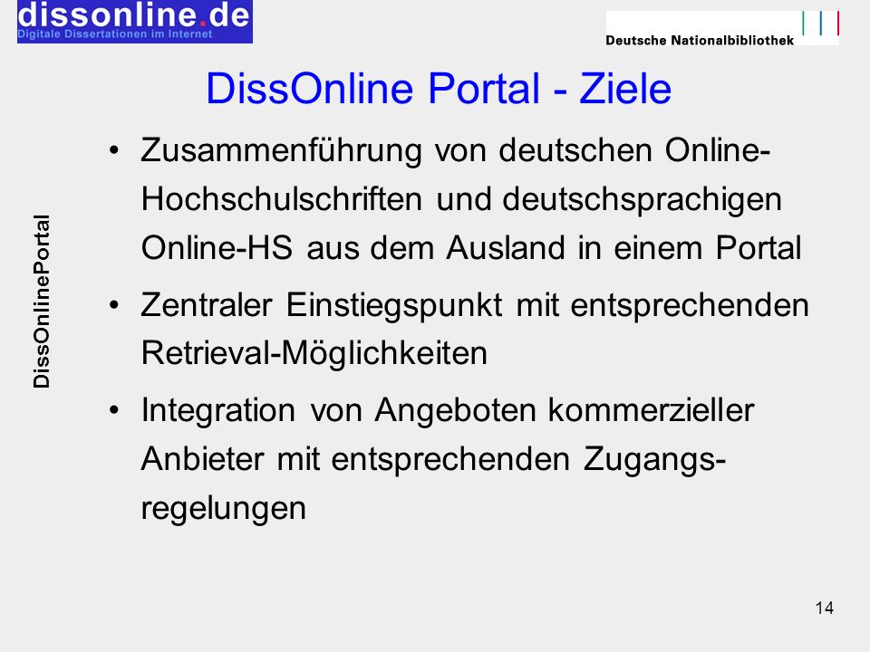 DissOnline Portal - Ziele