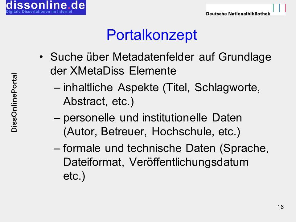 Portalkonzept Suche über Metadatenfelder auf Grundlage der XMetaDiss Elemente. inhaltliche Aspekte (Titel, Schlagworte, Abstract, etc.)