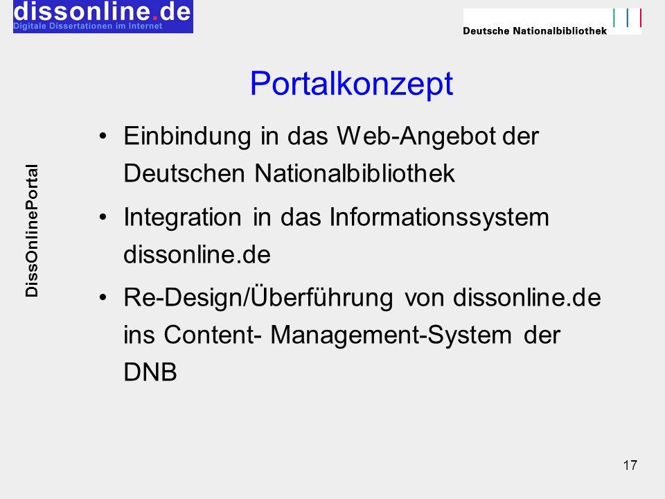 Portalkonzept Einbindung in das Web-Angebot der Deutschen Nationalbibliothek. Integration in das Informationssystem dissonline.de.