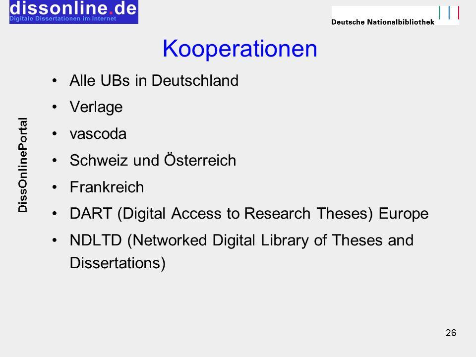 Kooperationen Alle UBs in Deutschland Verlage vascoda