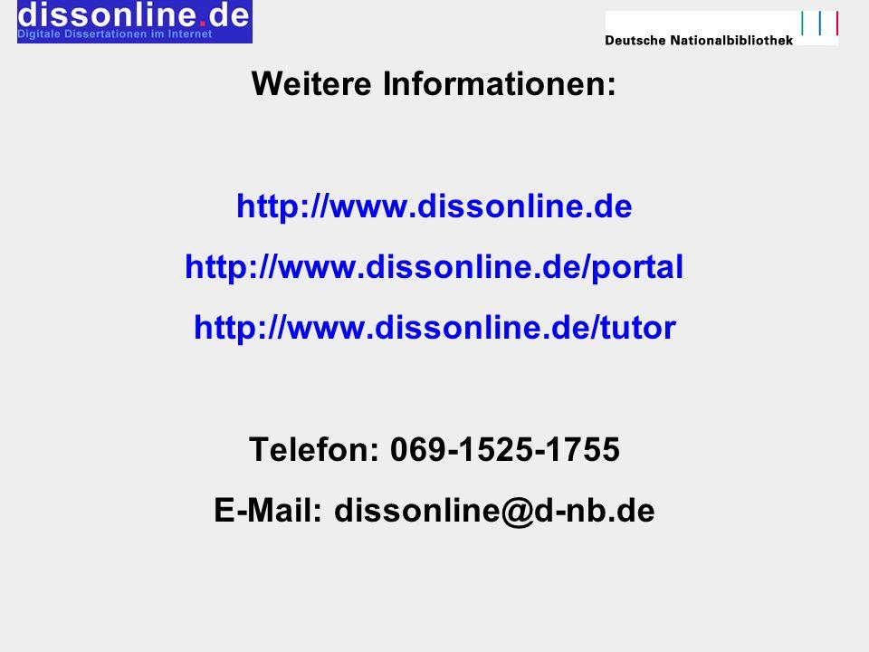 Weitere Informationen: http://www. dissonline. de http://www