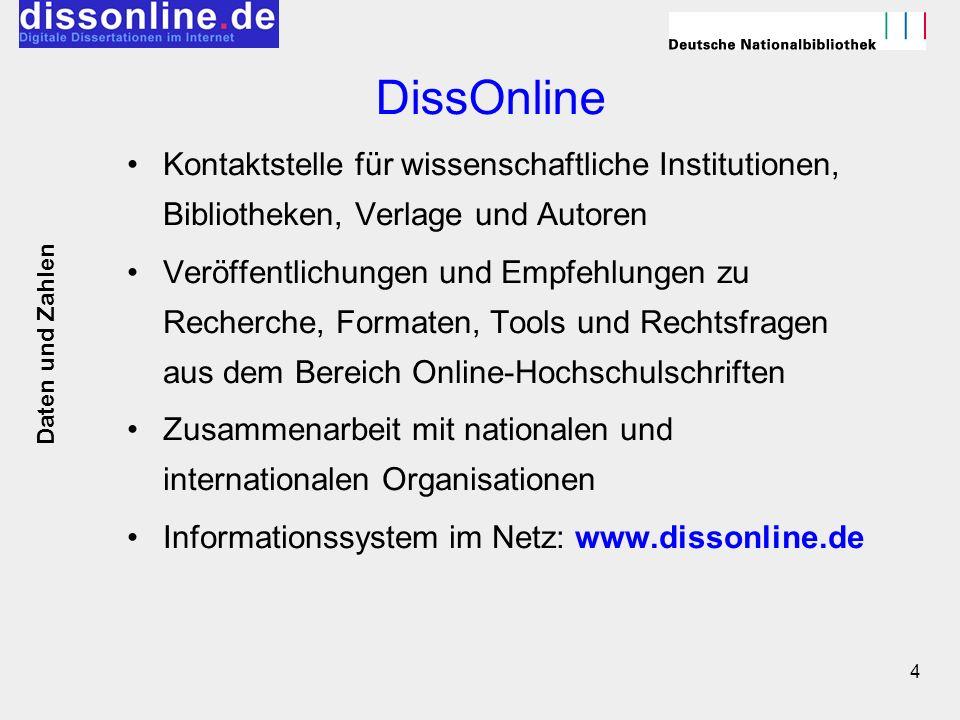 DissOnline Kontaktstelle für wissenschaftliche Institutionen, Bibliotheken, Verlage und Autoren.