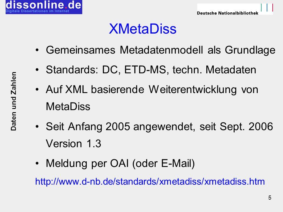 XMetaDiss Gemeinsames Metadatenmodell als Grundlage
