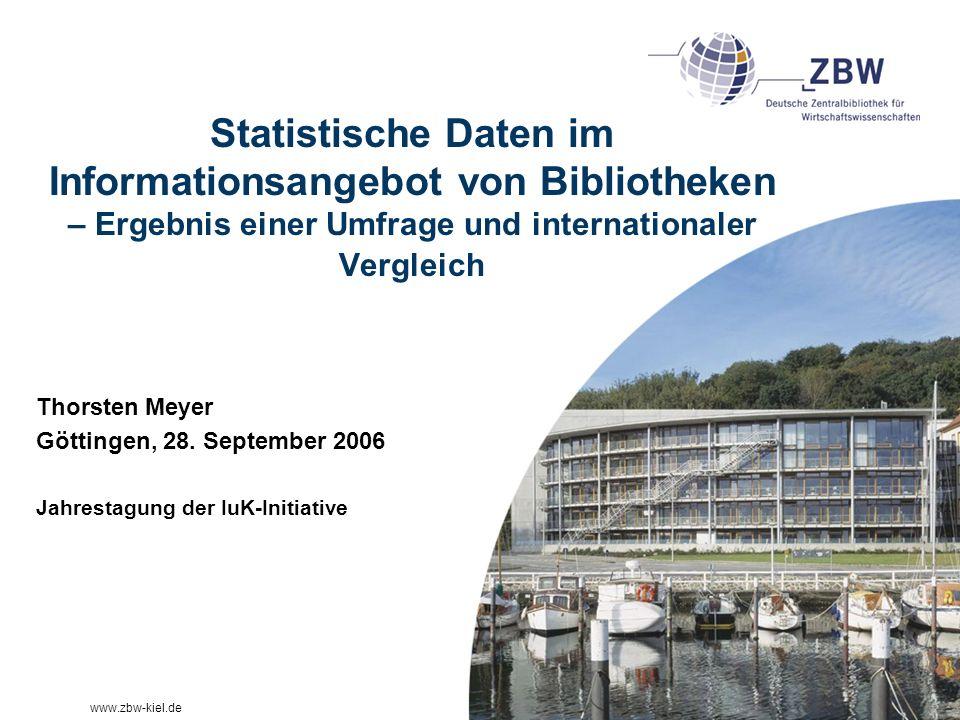 Statistische Daten im Informationsangebot von Bibliotheken – Ergebnis einer Umfrage und internationaler Vergleich