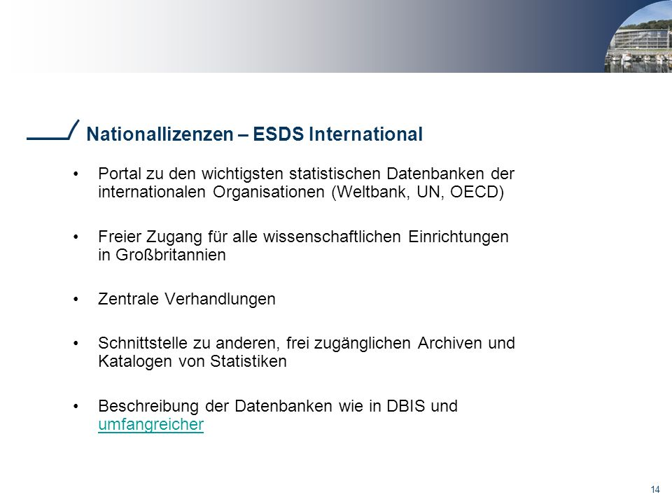 Nationallizenzen – ESDS International