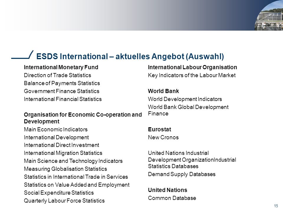 ESDS International – aktuelles Angebot (Auswahl)