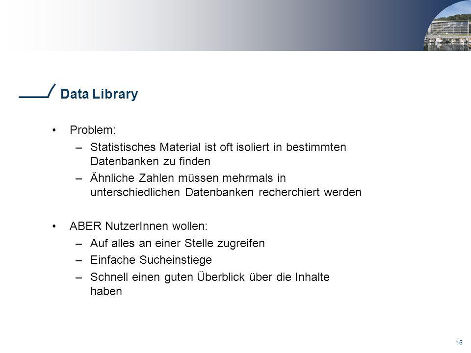 Data Library Problem: Statistisches Material ist oft isoliert in bestimmten Datenbanken zu finden.