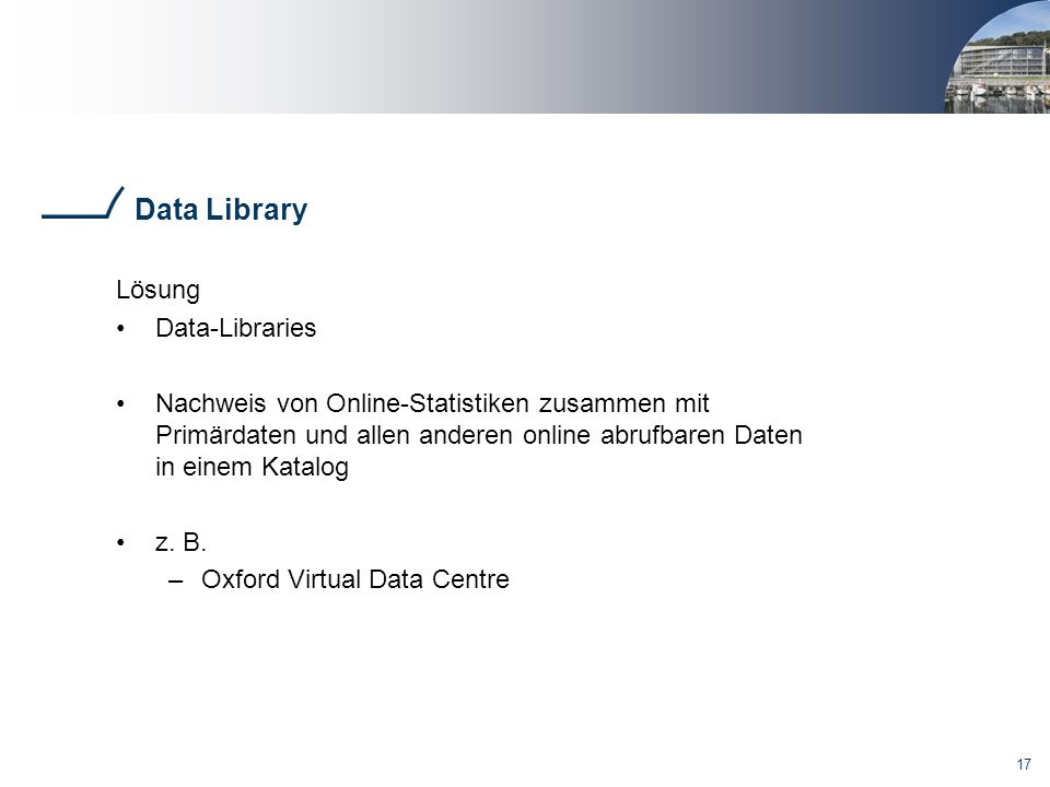 Data Library Lösung Data-Libraries