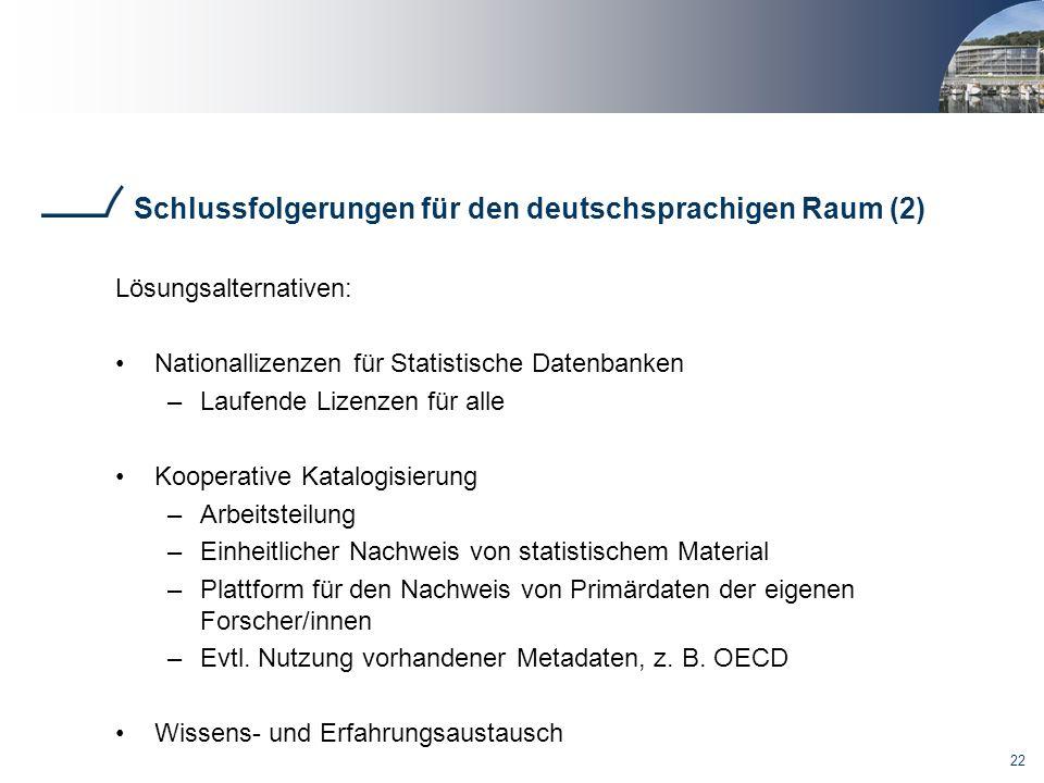 Schlussfolgerungen für den deutschsprachigen Raum (2)