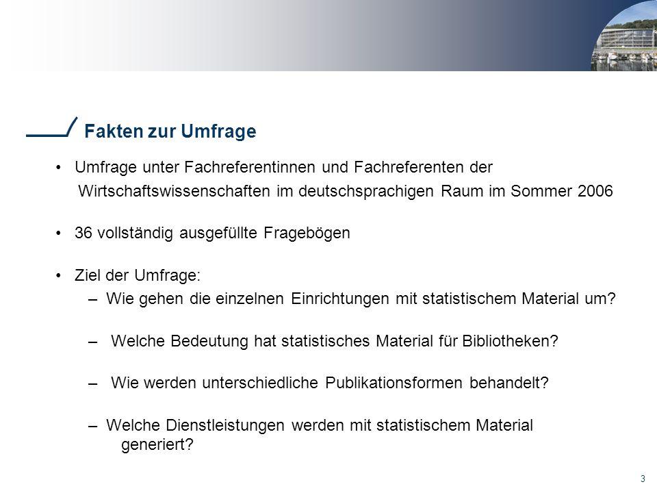 Fakten zur Umfrage Umfrage unter Fachreferentinnen und Fachreferenten der. Wirtschaftswissenschaften im deutschsprachigen Raum im Sommer 2006.