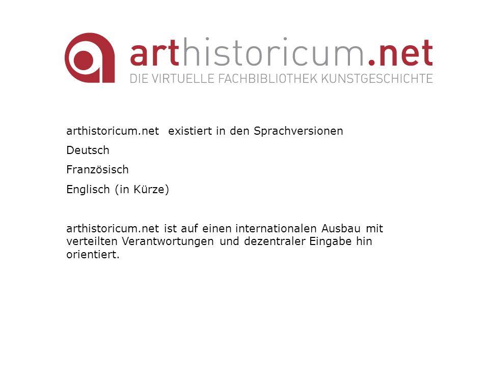 arthistoricum.net existiert in den Sprachversionen