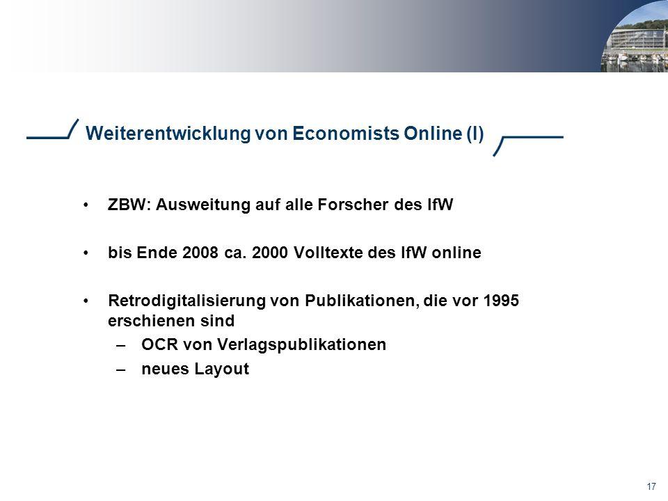 Weiterentwicklung von Economists Online (I)