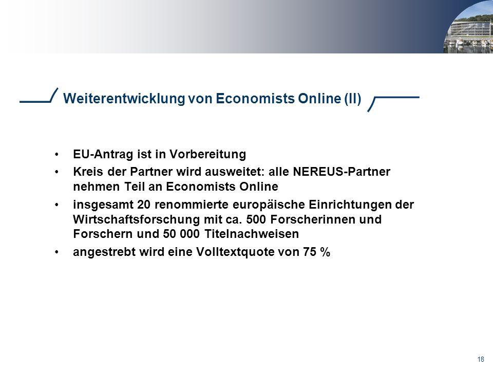 Weiterentwicklung von Economists Online (II)