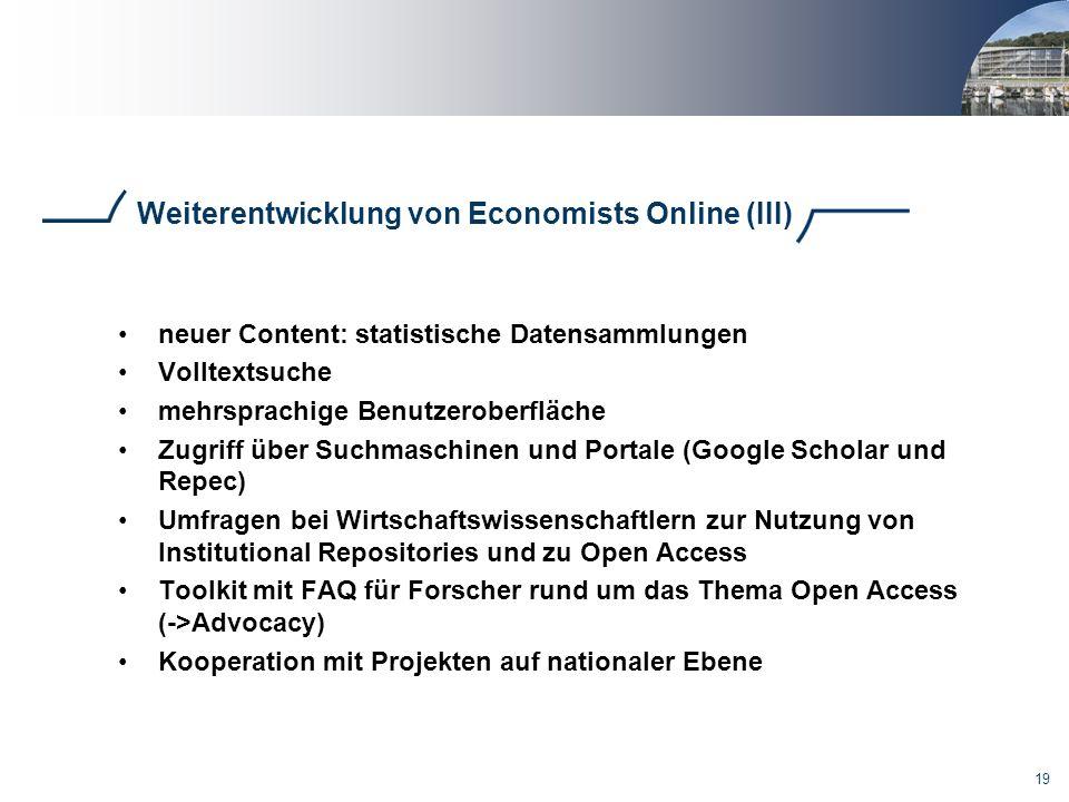 Weiterentwicklung von Economists Online (III)