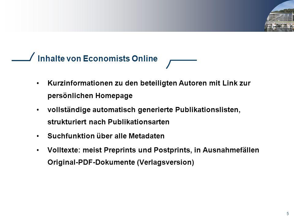 Inhalte von Economists Online