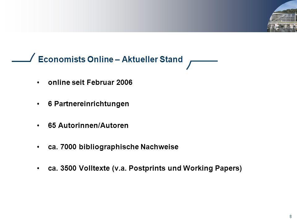 Economists Online – Aktueller Stand
