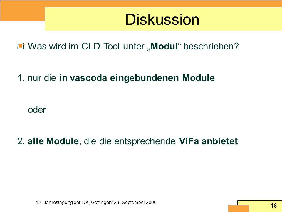 """Diskussion Was wird im CLD-Tool unter """"Modul beschrieben"""