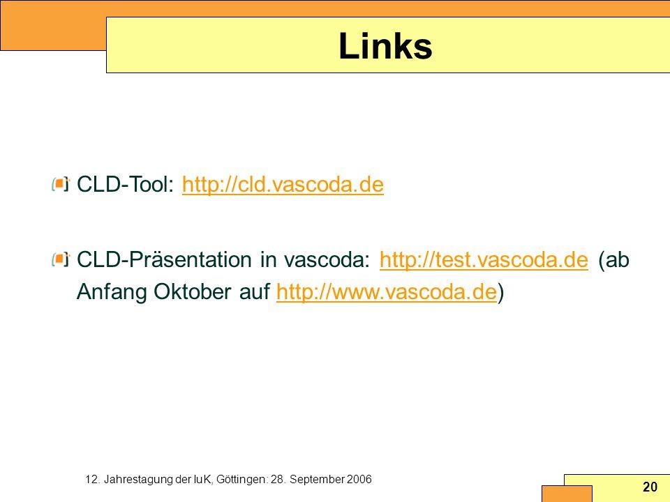Links CLD-Tool: http://cld.vascoda.de
