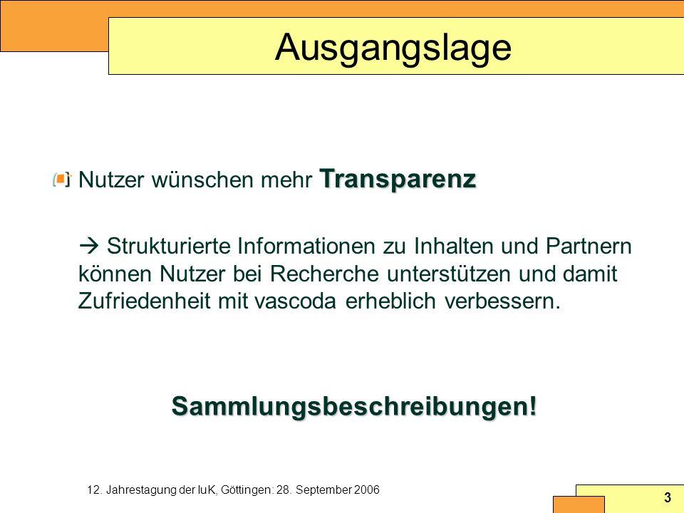 Ausgangslage Sammlungsbeschreibungen! Nutzer wünschen mehr Transparenz