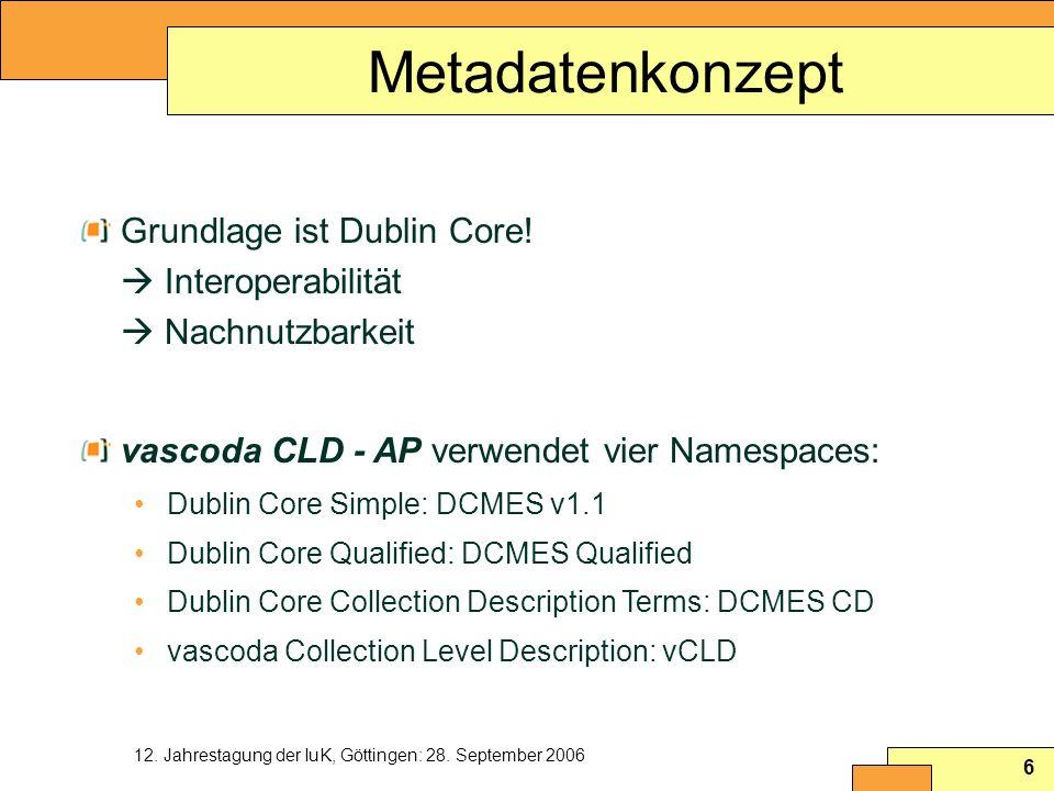 MetadatenkonzeptGrundlage ist Dublin Core!  Interoperabilität  Nachnutzbarkeit. vascoda CLD - AP verwendet vier Namespaces: