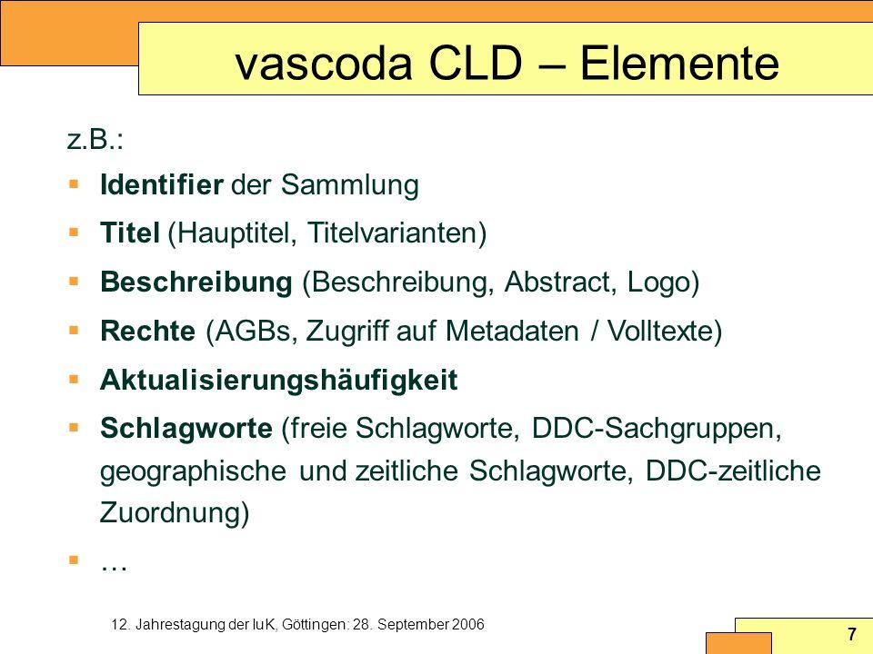 vascoda CLD – Elemente z.B.: Identifier der Sammlung