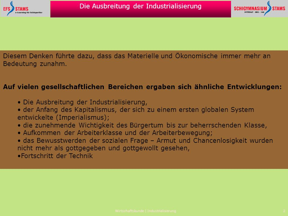 Wirtschaftskunde | Industrialisierung