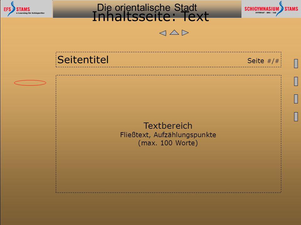 Inhaltsseite: Text Seitentitel Seite #/# Textbereich
