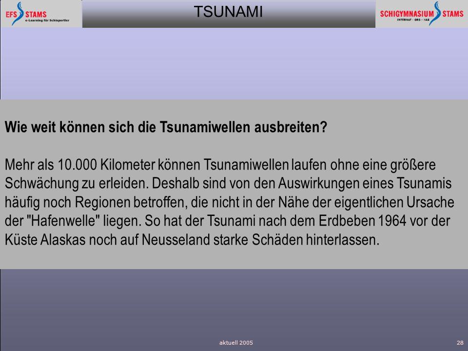 Wie weit können sich die Tsunamiwellen ausbreiten