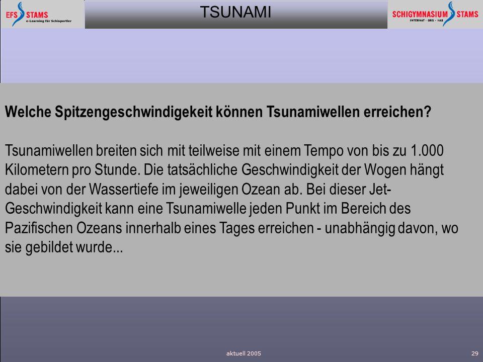 Welche Spitzengeschwindigekeit können Tsunamiwellen erreichen