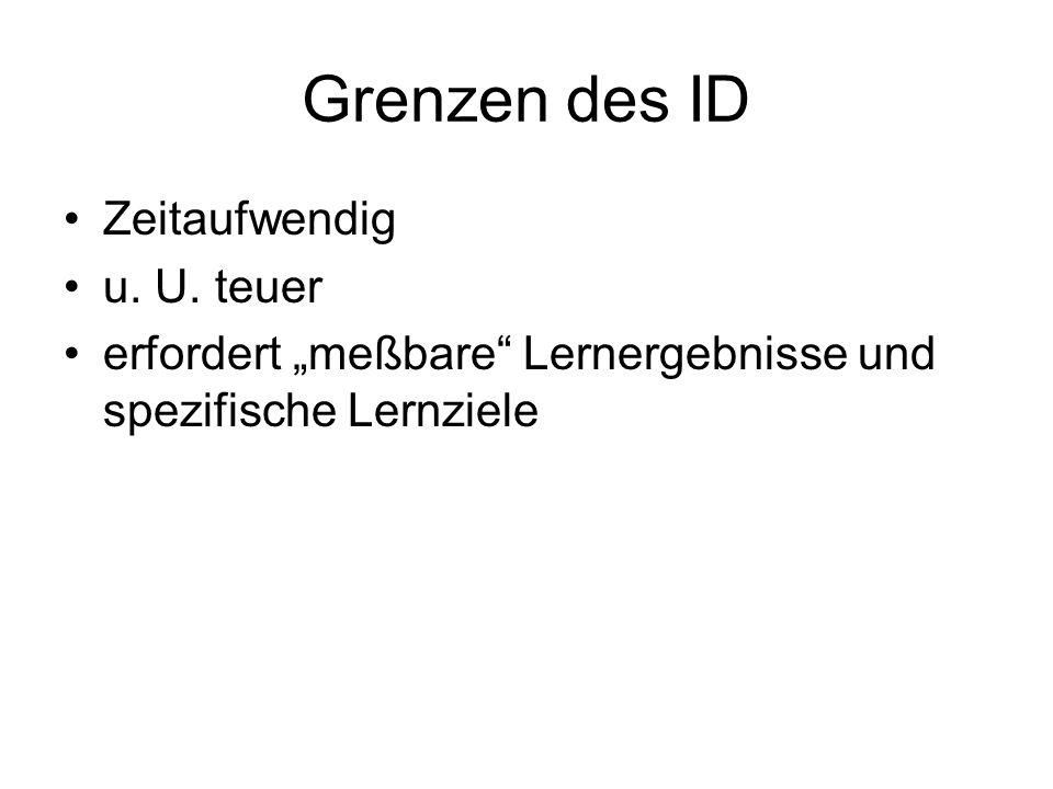 Grenzen des ID Zeitaufwendig u. U. teuer