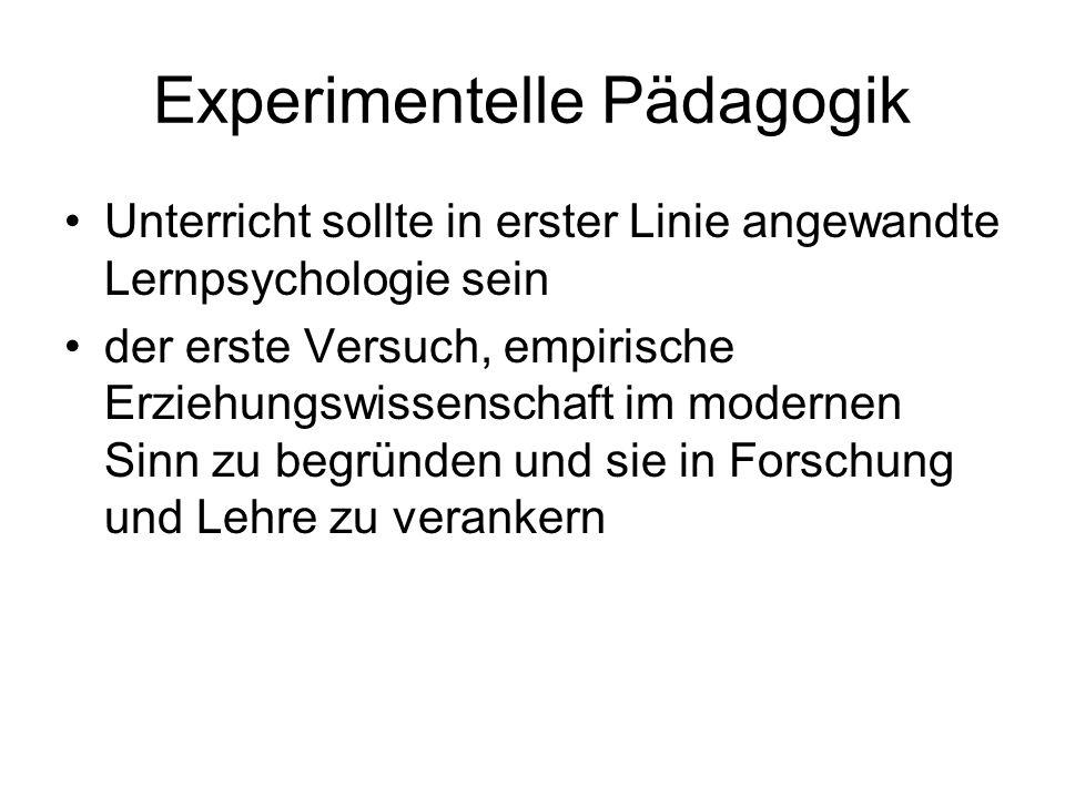 Experimentelle Pädagogik