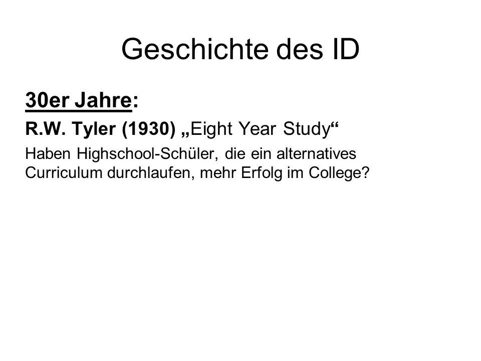 """Geschichte des ID 30er Jahre: R.W. Tyler (1930) """"Eight Year Study"""