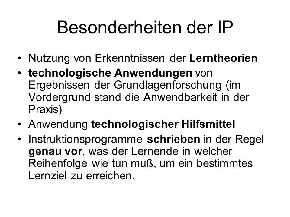Besonderheiten der IP Nutzung von Erkenntnissen der Lerntheorien