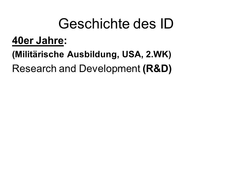 Geschichte des ID 40er Jahre: Research and Development (R&D)