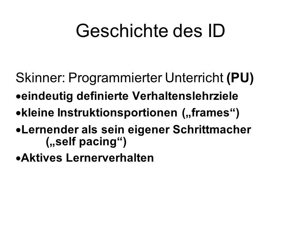 Geschichte des ID Skinner: Programmierter Unterricht (PU)