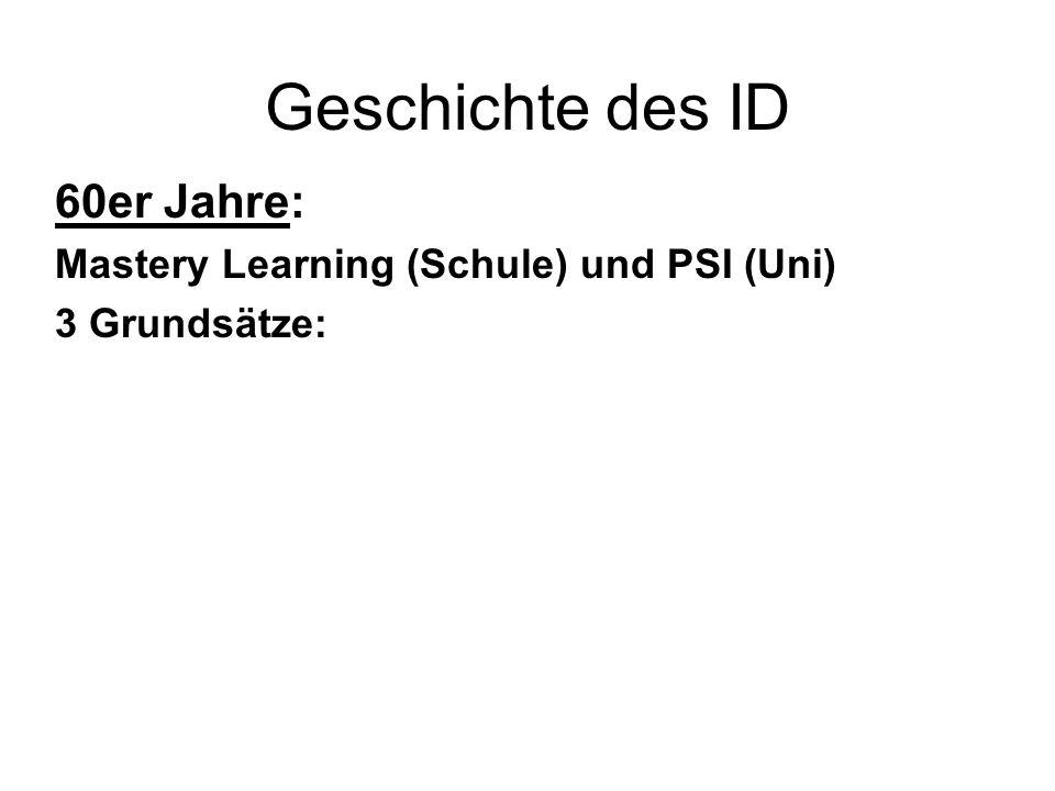 60er Jahre: Mastery Learning (Schule) und PSI (Uni) 3 Grundsätze: