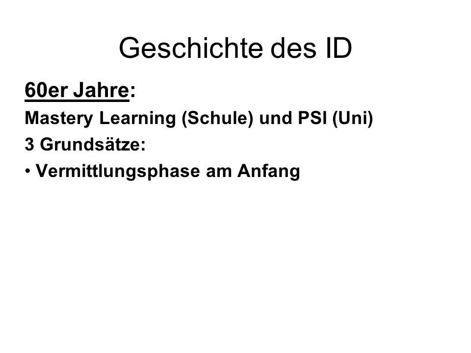 Geschichte des ID 60er Jahre: Mastery Learning (Schule) und PSI (Uni)