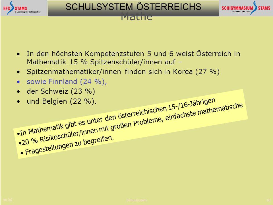 Mathe In den höchsten Kompetenzstufen 5 und 6 weist Österreich in Mathematik 15 % Spitzenschüler/innen auf –