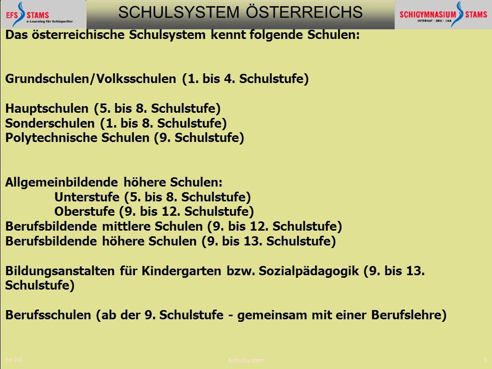 Das österreichische Schulsystem kennt folgende Schulen: